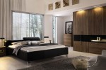 Low-Profile-Bed-Relaxing-Bedroom-Grey-Fur-Rug-Glass-Wall-915x606